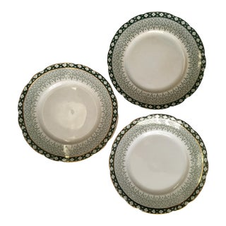 Scallop Edged Green & Gold Plates- Set of 3
