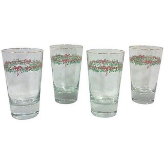 Red Ribbon & Garland Tumblers - Set of 4