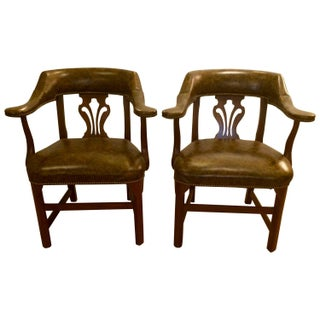 Faux Tortoise Leather Arm Chairs - Pair