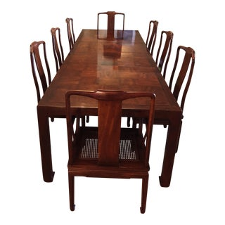 Henredon Asian Modern Walnut Dining Set