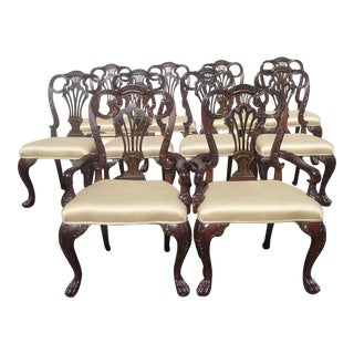 French Mahogany Fine Dining Chairs - Set of 10