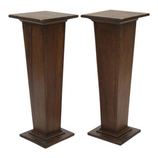 EARLY 1900'S HAND CARVED WOODEN PEDESTALS