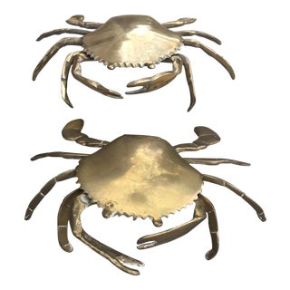 Vintage Brass Crab Figurines - A Pair