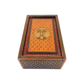 Hand-Painted Indian Sun Wood Box