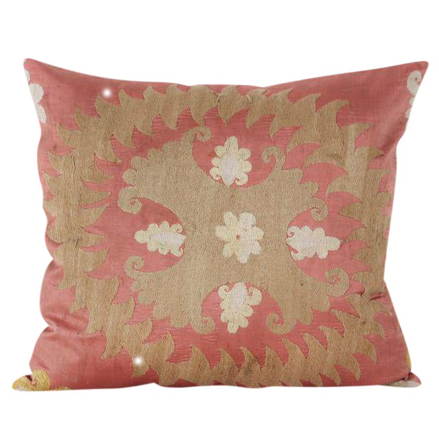 Vintage Cotton & Rayon Embroidered Suzani Pillow - Image 1 of 5