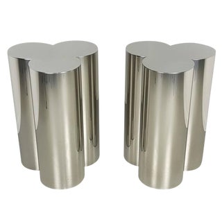 Pair of Custom Trefoil Dining Table Base Pedestals in Mirror Stainless Steel