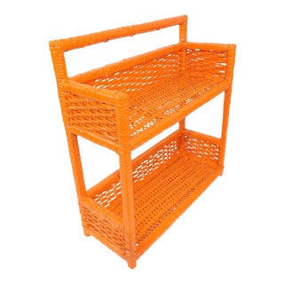 Orange Wicker Wall Shelf