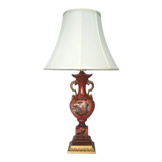 Vintage Cinnabar Red Chinoiserie Porcelain Lamp W/ New Shade