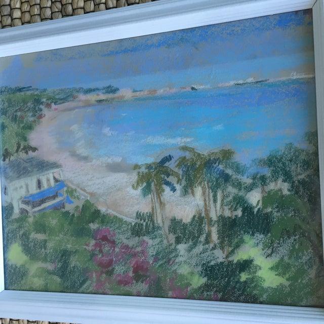 Original Oil Pastel Carribean Coastal Seascape Framed Art - Image 4 of 10