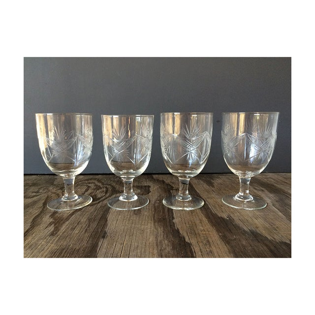 Image of 1940s Etched Wine Glasses/Goblets - Set of 8