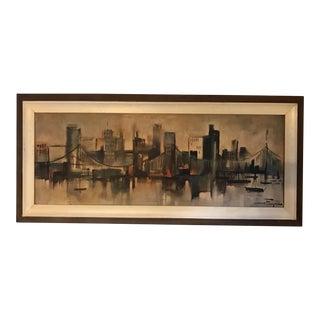 Vintage Metropolitan Skyline Print by Ozz Franca