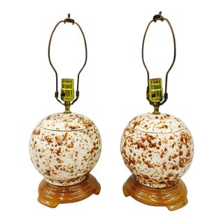 Mid-Century Modern Speckle Painted Ceramic Lamps - A Pair