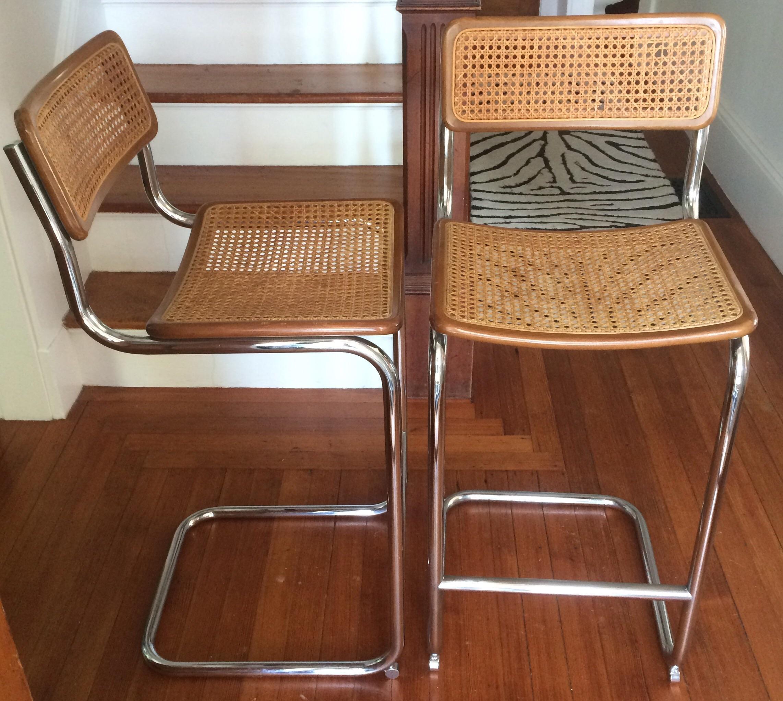 Marcel Breuer Style Cesca Bar Stool A Pair Chairish