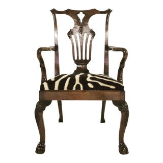 Forsyth One of a Kind George II Walnut Dining Chairs in Zebra Hide - Set of 8