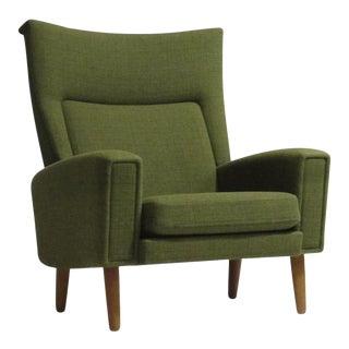 Danish Highback Lounge Chair in Green Fabric
