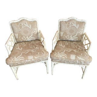 White Hollywood Regency Chairs - A Pair