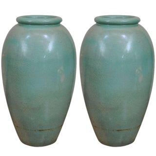 Pair of Large-Scale Pottery Urns Attributed to Bauer Pottery, California