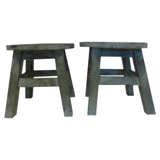 Rustic Children's Wood Stools - A Pair