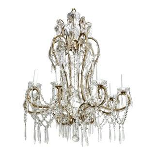 Eight Light All Beaded Crystal Chandelier