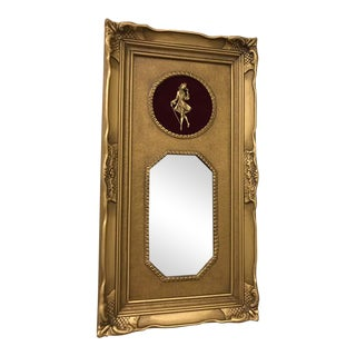Vintage Neoclassical Gold Gilded Frame Trumeau Mirror