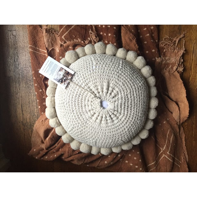 Large Bohemian Round Wool Floor Pillow With Poms Chairish