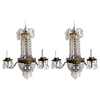 Brass & Crystal Sconces - A Pair