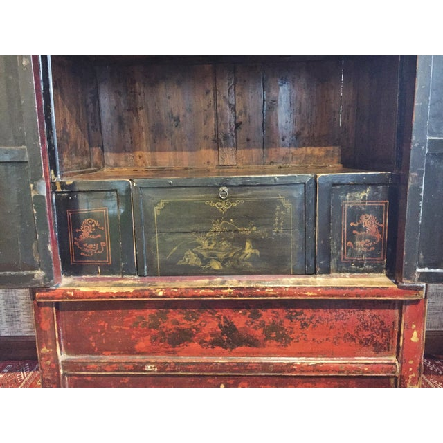 Antique Chinese Painted Wood Cabinet - Image 5 of 10