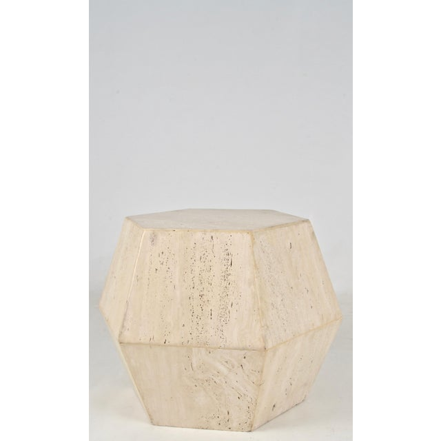 Travertine Marble Polygon Cocktail Table - Image 2 of 6