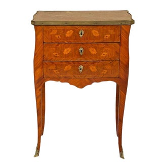 French Marquetry Inlaid Side Table