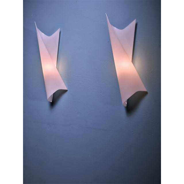 Bertil Brisborg Extra Large White Plexiglass Swirl Wall Lamps, Sweden, 1950s - Image 3 of 3