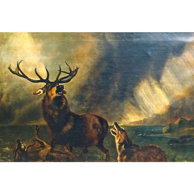 1850 Antique English Stag Painting - Image 2 of 3