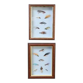 Framed English Fishing Flies - A Pair