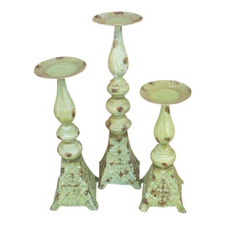 French Country Candlesticks - Set of 3