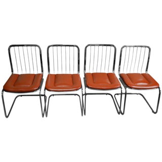 Dining Chairs Mid-Century from Shelby Williams, Rare Chrome Frame - Set of Four