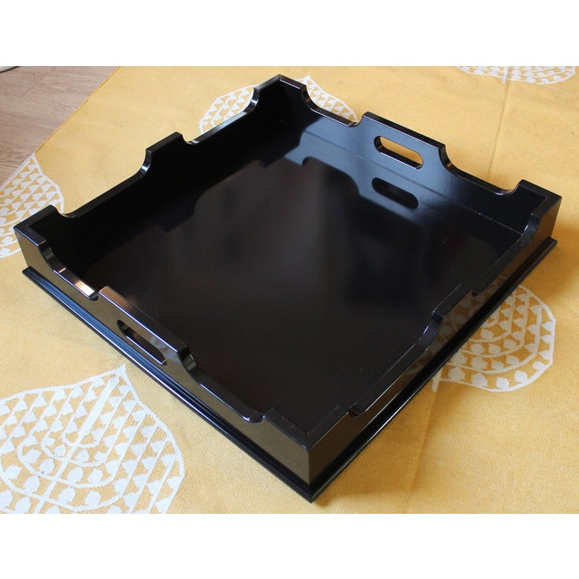 """Oomph """"Edgartown"""" Square Black Lacquer Tray - Image 2 of 8"""