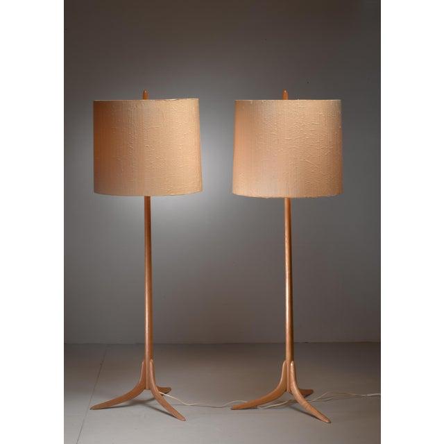 Pair of Swedish oak Floor Lamps, 1960s - Image 3 of 4