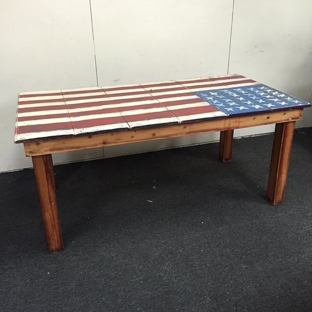 Image of Painted American Flag Wooden Dining Table