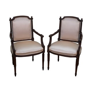 Quality French Louis XVI Style Open Arm Chairs - 2