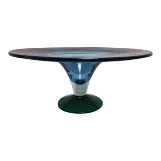 Blenko Limited Edition 2001 Blue Pedastal Bowl Signed Richard Blenko