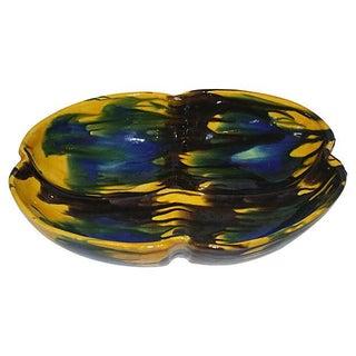 1960s Glazed Pottery Art Bowl
