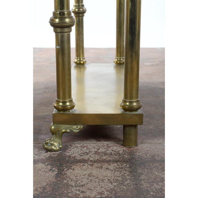 Antique Victorian Brass & Beveled Mirror Hall Tree - Image 9 of 9