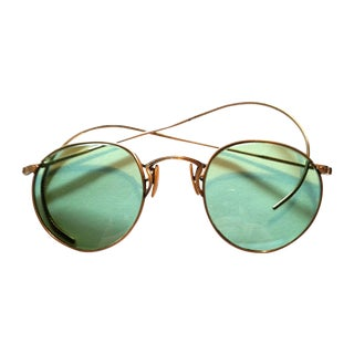 1930s Gold Filled Wire Rim Green Sunglasses