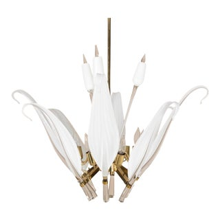 Seguso Murano Glass Leaf Cattail Chandelier