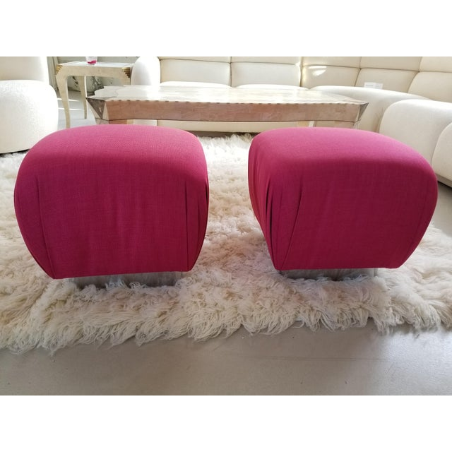 1980's Karl Springer Style Souffle Pouf Ottomans by Marge Carson - a Pair - Image 5 of 5