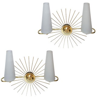 Lunel Vintage French Sun Wall Sconces by - A Pair