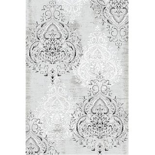 Damask Gray White Rug 8'X 11'6''