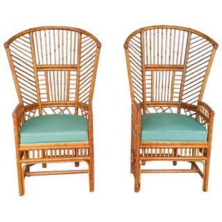 Bamboo High Back Arm Chairs- A Pair
