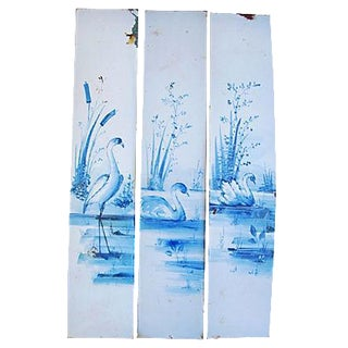 Antique French Hand Painted Porcelain Panels - Set of 3