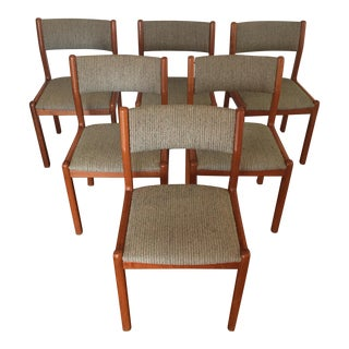 Skovby Danish Modern Teak & Upholstered Dining Chairs - Set of 6