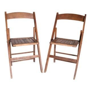 Vintage Rustic Slat Wood Folding Chairs - A Pair